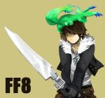 carbuncle final_fantasy final_fantasy_viii fur_trim gloves gunblade jacket jewelry multiple_belts necklace scar shiyoge squall_leonhart weapon wince wink