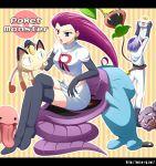 1boy 1girl arbok bad_id blue_hair boots chimecho crossed_legs kojirou_(pokemon) lickitung meowth midriff miso-rg musashi_(pokemon) navel pokemon pokemon_(anime) pokemon_(creature) red_hair redhead sitting team_rocket thigh_boots thighhighs victreebel weezing wobbuffet