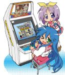 :3 ahoge alex arcade arcade_cabinet blue_eyes blue_hair blush capcom capcom_fighting_allstars capcom_fighting_evolution character_select charlie_nash chun-li d_d final_fight green_eyes hair_ribbon hairband hiiragi_tsukasa ichimonji_batsu ingrid izumi_konata justice_gakuen kazama_akira long_hair lucky_star mike_haggar mole multiple_girls pantyhose playing_games poison poison_(final_fight) purple_hair ribbon rook ryu ryuu_(street_fighter) school_uniform sega serafuku shiritsu_justice_gakuen short_hair street_fighter street_fighter_iii strider_hiryu strider_hiryuu sweat thumbs_up usuiken very_long_hair video_game video_games wink