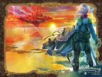 cloud clouds floating_island grass highres leaf light pink_hair scabbard sheath sky source_request sun sunset sword usuda_hiro water weapon