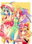 bat_wings blonde_hair blue_hair blush braid china_dress chinadress chinese_clothes clenched_hand flandre_scarlet gradient_hair green_hair hat hong_meiling long_hair multicolored_hair outstretched_arm ponytail red_eyes red_hair redhead remilia_scarlet shiwasu_horio short_hair side_ponytail side_slit simple_background smile touhou twin_braids wings wink wrist_cuffs