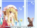 1girl bandaged_head blonde_hair blue_background chair elbows_on_table flandre_scarlet food fruit glass hat hat_ribbon head_rest kurokumaneko lemon lemon_slice looking_at_viewer mob_cap open_mouth puffy_short_sleeves puffy_sleeves red_eyes ribbon short_hair short_sleeves side_ponytail sitting skirt skirt_set soda solo straw striped striped_background stuffed_animal stuffed_toy table teddy_bear touhou upper_body wings