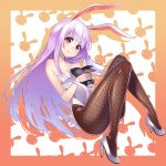 1girl alternate_costume animal_ears bare_shoulders between_breasts blush breasts bunny_girl bunny_tail bunnysuit cleavage fishnet_pantyhose fishnets high_heels kyon_(fuuran) large_breasts leotard long_hair looking_at_viewer pantyhose purple_hair rabbit rabbit_ears red_eyes reisen_udongein_inaba revision smile solo tail thighs touhou