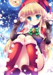 1girl bell blonde_hair blue_eyes hat highres hoshioki_rira hyakugojuunenme_no_mahoutsukai long_hair looking_at_viewer mikeou ribbed_sweater santa_hat sitting smile snowing solo sweater