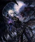 1boy azazel_(shingeki_no_bahamut) black_wings highres horns moon shingeki_no_bahamut:_genesis sword weapon wings