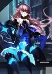 1girl blue_eyes blurry brown_hair claws crown depth_of_field elsword highres long_hair looking_at_viewer mini_crown pointy_ears sitting sittting solo swd3e2