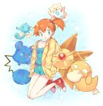 1girl :p azurill bare_legs blue_eyes breasts bubble_background cleavage earrings hands_in_pockets hoodie horsea jewelry joypyonn kasumi_(pokemon) off_shoulder open_clothes open_hoodie orange_hair pokemon pokemon_(anime) pokemon_(creature) psyduck shoes short_hair shorts side_ponytail smile staryu tank_top togepi tongue tongue_out