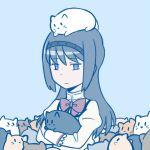 1girl akemi_homura ange animal_hug animal_on_head bags_under_eyes black_hair bow cat cat_on_head hairband long_hair mahou_shoujo_madoka_magica school_uniform solo too_many_cats