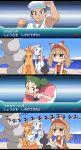 1boy 2girls blush brown_hair combusken comic frosslass gaijin_4koma haruka_(pokemon) haruka_(pokemon)_(remake) highres innertube multiple_girls pokemon pokemon_(game) pokemon_oras sailor_(pokemon) satsuki_mei_(sakuramochi) shuppet steelix translated tuber_(pokemon)