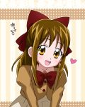 1girl :d borrowed_character bow brown_eyes brown_hair hair_bow half_updo heart kurimiya_arisa_(kiyu) long_hair maeashi open_mouth original precure skirt smile solo striped striped_background
