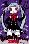 >:o 2014 :o alternate_costume bat bat_wings black_gloves blue_hair blush_stickers buttons cross dress elbow_gloves fang gloves hatsune_miku head_wings maako_(pixiv54348) neck_ribbon pitchfork polka_dot polka_dot_background purple_background red_eyes ribbon striped striped_ribbon text thigh-highs twintails vocaloid wings