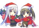 2girls 5han blush brown_eyes brown_hair christmas hat kantai_collection long_hair multiple_girls open_mouth santa_hat scarf shared_scarf shoukaku_(kantai_collection) silver_hair smile twintails zuikaku_(kantai_collection)