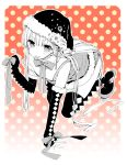 boots bow elbow_gloves fingerless_gloves gloves hat long_hair monochrome original sakiyo_cake santa_hat thigh-highs thigh_boots tongue tongue_out very_long_hair