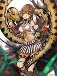 1girl bracelet braid breasts brown_hair cleavage feathers happy highres jewelry kaizin_rumble necklace primcoco skirt sky snake tree yellow_eyes zakum