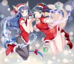 2girls :o ;d ankle_boots bare_legs bell black_hair black_legwear blue_eyes blue_hair boots bow breasts choker christmas cleavage dragon_girl dragon_horns dragon_tail dress fur_trim gift hair_bow hair_ornament hair_tubes hat head_fins heart highres holding horns kaki_s karin_(p&d) leaf leaf_hair_ornament long_hair multiple_girls nephthys_(p&d) no_panties one_eye_closed open_mouth pantyhose pointing ponytail puffy_short_sleeves puffy_sleeves puzzle_&_dragons red_dress santa_costume santa_hat short_dress short_sleeves smile star tail