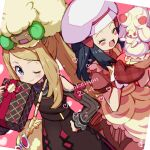 2girls alcremie alcremie_(strawberry_sweet) blush_stickers box brown_dress chef_hat closed_eyes closed_mouth commentary_request copyright_name dawn_(pokemon) dress eyelashes eyewear_removed gen_5_pokemon gen_8_pokemon gift gift_box grey_eyes hand_on_hip hat heart holding kingin light_brown_hair long_sleeves multiple_girls on_head one_eye_closed open_mouth oven_mitts pokemon pokemon_(creature) pokemon_(game) pokemon_masters_ex pokemon_on_head red_dress red_mittens red_ribbon ribbon serena_(pokemon) smile sunglasses tongue whimsicott white-framed_eyewear