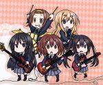 akiyama_mio chibi drum drum_set drumsticks guitar hirasawa_yui instrument k-on! kotobuki_tsumugi nakano_azusa pantyhose school_uniform synthesizer tainaka_ritsu takanoru