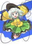 1girl :d \o/ absurdres arms_up green_eyes green_hair hat hat_removed hat_ribbon headwear_removed heart heart_of_string highres jumping komeiji_koishi kurotama_(avino) looking_at_viewer open_mouth outstretched_arms petticoat revision ribbon short_hair skirt sky sleeves_past_wrists smile solo sun_hat third_eye touhou