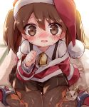 1girl argyle argyle_legwear ayakashi_(monkeypanch) bell bell_collar brown_eyes brown_hair collar hat highres kantai_collection pantyhose ryuujou_(kantai_collection) santa_costume santa_hat suspenders twintails