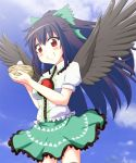 1girl bird_nest black_hair black_wings bow c: egg feathered_wings hair_bow hair_ribbon harunatsu_akito long_hair looking_at_viewer red_eyes reiuji_utsuho ribbon smile solo touhou wind wings