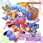 1girl :d beanie blue_eyes blue_hair blue_legwear bomb boots coat crossover hair_bobbles hair_ornament hammer hat kawashiro_nitori king_dedede king_dedede_(cosplay) kirby kirby_(series) kurogarasu looking_at_viewer mallet maxim_tomato mittens naughty_face navel nintendo open_mouth pokemon_card pokemon_trading_card_game skirt smile tagme thigh-highs touhou two_side_up waddle_dee
