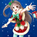 armpits belt blush brown_eyes brown_hair christmas happy long_hair love_live!_school_idol_project minami_kotori ribbon side_ponytail