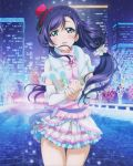 1girl absurdres artist_request braid detached_sleeves green_eyes hat highres love_live!_school_idol_project mini_top_hat official_art purple_hair skirt snow_halation solo top_hat toujou_nozomi