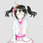 black_hair closed_eyes dress long_hair love_live!_school_idol_project ribbon smile twintails yazawa_nico
