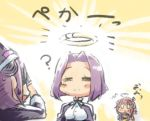 3girls =_= ? commentary covering_eyes engiyoshi eyepatch gloves glowing hair_ornament headgear i-58_(kantai_collection) kantai_collection mechanical_halo multiple_girls open_mouth purple_hair revision school_swimsuit school_uniform serafuku short_hair smile swimsuit swimsuit_under_clothes tatsuta_(kantai_collection) tenryuu_(kantai_collection) translated