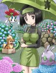 1girl black_hair box cardboard_box dress erika_(pokemon) floette golem_(pokemon) goomy growlithe oddish pokemoa pokemon pokemon(tcg) pokemon_(creature) rain umbrella