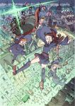 airship akko_kagari belt boots brown_eyes brown_hair falling freckles gem glasses half-closed_eyes hat highres house little_witch_academia little_witch_academia:the_enchanted_parade long_hair lotte_yanson mushroom open_mouth orange_hair parachute reaching_out short_hair sparkle staff sucy_manbabalan tent thigh-highs witch witch_hat zettai_ryouiki