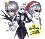 absurdres blue_eyes character_name copyright_name crown fake_beard grin hat highres jack_skellington looking_at_viewer maian open_mouth personification santa_hat short_hair silver_hair simple_background smile the_nightmare_before_christmas white_background white_hair yellow_eyes zero_(nbc)