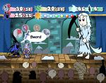 armor artorias_the_abysswalker audience cape chin_stroking chosen_undead dark_souls fake_screenshot full_armor helmet holding_sword horns knight long_hair monster_girl paper_mario parody priscilla_the_crossbreed setz snow souls_(from_software) style_parody super_mario_bros. sword tail theater thinking weapon white_hair