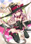 1girl :o bare_shoulders black_legwear collar detached_sleeves hat kaku-san-sei_million_arthur long_hair official_art pink_hair red_eyes refeia solo thigh-highs toeless_legwear v_arms vacuum_cleaner witch_hat