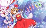2girls ascot bat_wings blonde_hair blue_hair brooch clouds dress flandre_scarlet glowing glowing_wings hat hat_ribbon highres holding_hands hyurasan jewelry lying mob_cap multiple_girls on_back pink_dress puffy_short_sleeves puffy_sleeves red_dress red_eyes reflection reflective_floor remilia_scarlet ribbon sash shirt short_sleeves siblings side_ponytail sisters sky snowing tile_floor tiles touhou upside-down wings wrist_cuffs