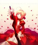 1girl absurdres aestus_estus ahoge blonde_hair breasts dress epaulettes fate/extra fate_(series) fuyuki_(neigedhiver) green_eyes highres red_dress saber_extra solo sword weapon