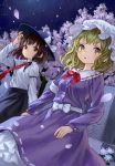 2girls ama-tou blonde_hair brown_eyes brown_hair cherry_blossoms dutch_angle graveyard hand_on_headwear hat highres long_hair looking_at_viewer maribel_hearn mob_cap multiple_girls parted_lips petals short_hair touhou translation_request tree usami_renko wind yellow_eyes