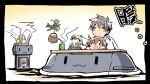 1boy 4girls :3 :d =3 =d admiral_(kantai_collection) airplane brown_hair cha_(kantai_collection) chibi cup fairy_(kantai_collection) green_eyes hiyoko_(kantai_collection) ishiki_(okota) kantai_collection kotatsu midori_(kantai_collection) multiple_girls open_mouth rashinban_musume rensouhou-chan size_difference smile table teacup teapot translation_request |_|
