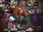 balloon banette chandelure chikorita chimney christmas christmas_ornaments christmas_stocking christmas_tree clefable digital_clock drifloon drinking_glass drinking_straw dusknoir duskull frillish froslass gastly gengar ghost giratina golett gourgeist indoors jellicent litwick misdreavus mismagius nn no_humans phantump pikachu pokemon pokemon_(creature) pumpkaboo red_eyes rotom sableye shedinja shuppet spiritomb swalot table trevenant wobbuffet writing yamask