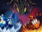 groudon kyogre matatabi_nia mega_rayquaza no_humans pokemon pokemon_(creature) pokemon_(game) pokemon_oras primal_groudon primal_kyogre rayquaza water