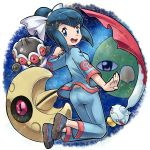 ass blue_eyes blue_hair bow chimecho claydol gym_leader hair_bow looking_back lunatone natu pokemoa pokemon pokemon_(creature) pokemon_(game) pokemon_rse ran_(pokemon)
