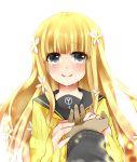 04-10 1boy 1girl blonde_hair dark_skin flower grey_eyes hair_flower hair_ornament holding_hands long_hair persona persona_q rei_(persona_q) school_uniform smile tears zen_(persona_q)