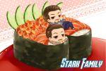 2boys brown_eyes brown_hair chibi ee0418 facial_hair father_and_son howard_stark marvel multiple_boys mustache sushi tony_stark