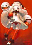 1girl bell covered_mouth dress floating_fortress_(kantai_collection) gibagiba hat highres horns kantai_collection long_hair looking_at_viewer mittens northern_ocean_hime one_eye_closed panties red_eyes red_panties santa_hat side-tie_panties solo underwear white_dress white_hair white_skin