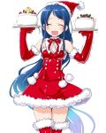 1girl :d ^_^ absurdly_long_hair alternate_costume blue_hair cake christmas closed_eyes cowboy_shot dd_(ijigendd) detached_collar dress elbow_gloves facing_viewer food fruit fur_trim gloves gradient_hair hat kantai_collection long_hair multicolored_hair open_mouth red_dress red_gloves red_legwear samidare_(kantai_collection) santa_costume santa_hat simple_background smile strawberry sweat the_yuudachi-like_creature thigh-highs trembling very_long_hair white_background zettai_ryouiki