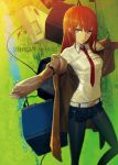 1girl belt black_legwear brown_hair computer cover cover_page highres huke jacket legwear_under_shorts long_hair makise_kurisu necktie outstretched_arms pantyhose short_shorts shorts sleeves_past_wrists solo spread_arms steins;gate television violet_eyes
