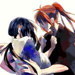 1boy 1girl black_hair himura_kenshin japanese_clothes kimono long_hair ponytail redhead rurouni_kenshin scar yakumo_(laight) yukishiro_tomoe