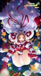 1girl 2014 arms_up boots boots_removed box brown_eyes brown_hair christmas_lights clouds elbow_gloves falling fur_trim gift gift_box gloves gogatsu_no_renkyuu long_hair looking_at_viewer merry_christmas number open_mouth original panties sack santa_costume solo star striped striped_gloves striped_legwear tears thigh-highs underwear white_panties