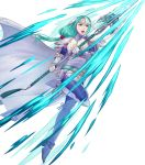 1girl aqua_eyes aqua_hair arm_guards armor belt boots cape elbow_gloves fingerless_gloves fire_emblem fire_emblem:_path_of_radiance fire_emblem_heroes full_body gloves hair_ornament headpiece highres holding holding_weapon long_hair looking_away low-tied_long_hair non-web_source official_art pikomaro polearm shiny shiny_hair shoulder_armor sigrun solo spear tied_hair transparent_background turtleneck weapon white_footwear