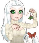 1girl bow breasts christmas cleavage dark_souls fur green_eyes heart horns long_hair mistletoe monster_girl open-chest_sweater priscilla_the_crossbreed solo souls_(from_software) sweater tail white_hair